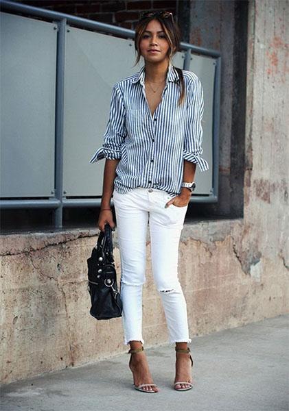 Как да изглеждате добре с бели дънки?